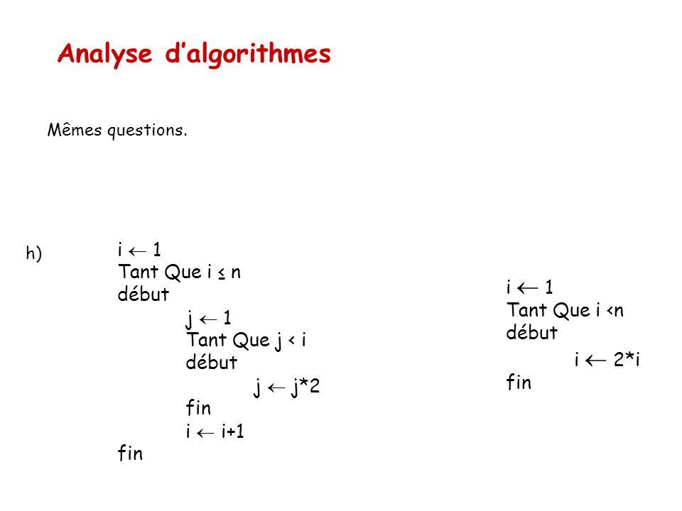 Analyse d'algorithmes Mêmes questions. i  1 Tant Que i ≤ n début j  1 Tant Que j < i début j  j*2 fin i  i+1 fin h) i  1 Tant Que i <n début i 