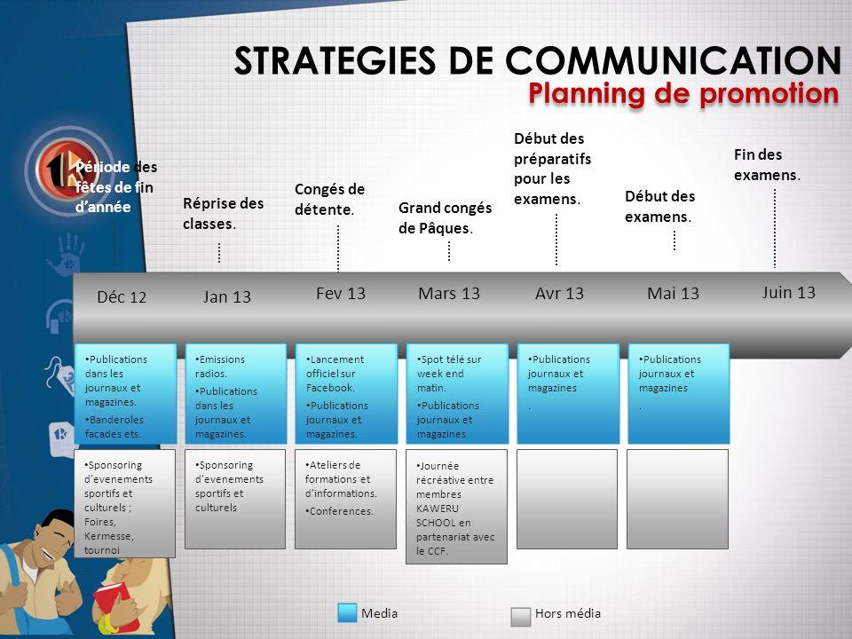 STRATEGIES DE COMMUNICATION Planning de promotion Déc 12 Jan 13 Fev 13 Mars 13Avr 13Mai 13 Juin 13 Congés de détente.