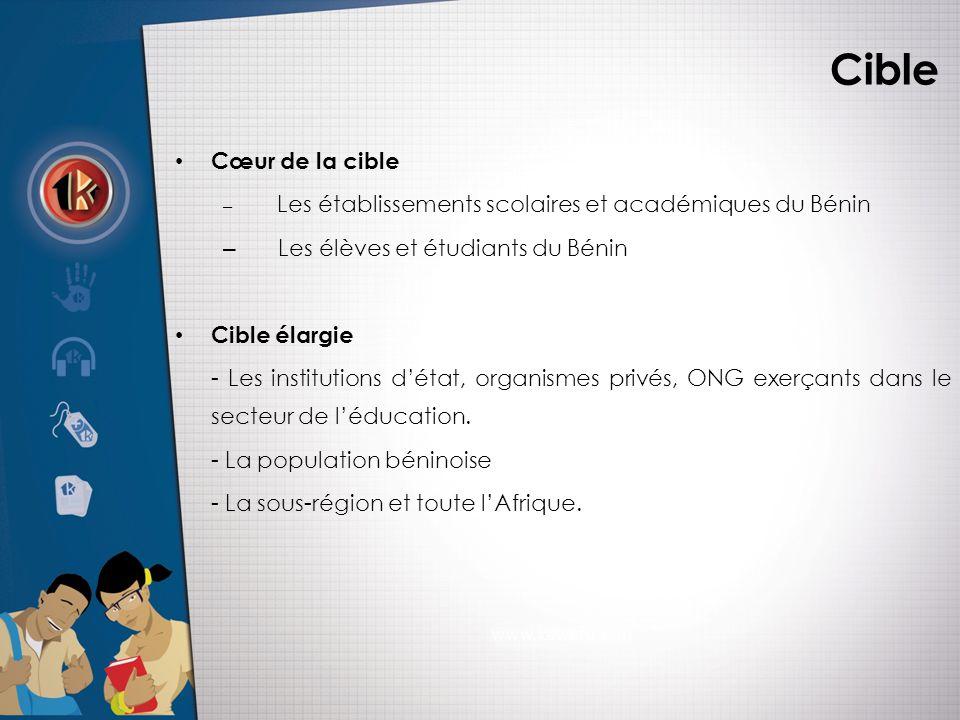 Cible • Cœur de la cible – Les établissements scolaires et académiques du Bénin – Les élèves et étudiants du Bénin • Cible élargie - Les institutions d'état, organismes privés, ONG exerçants dans le secteur de l'éducation.