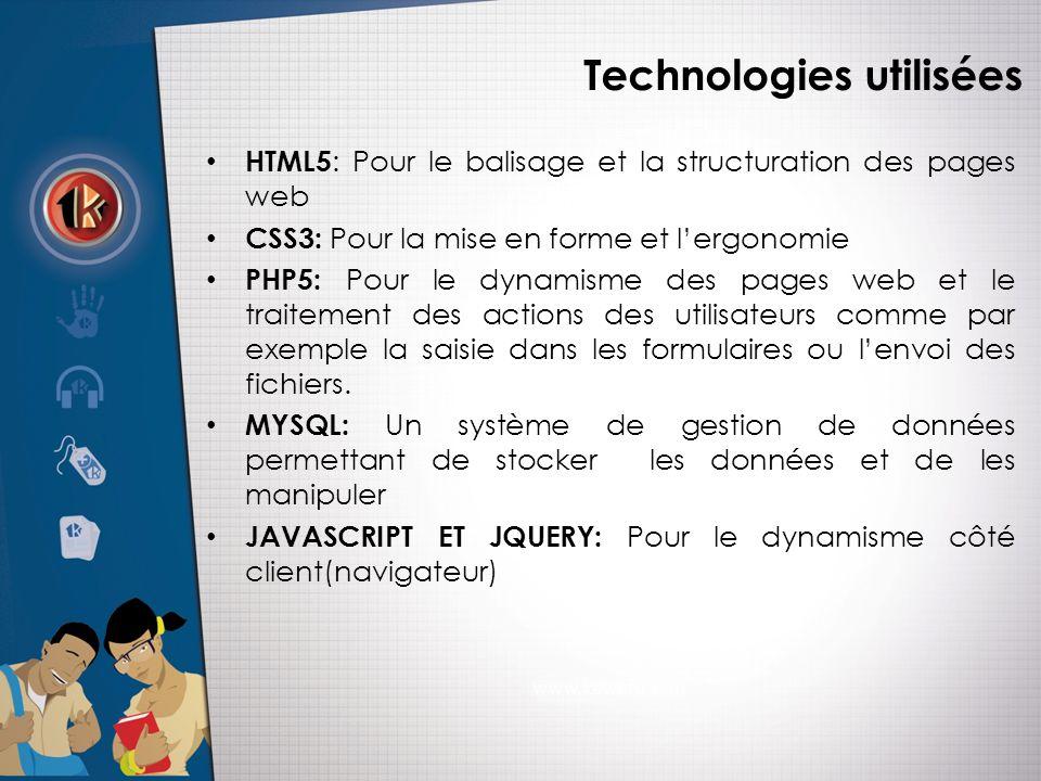 Technologies utilisées • HTML5 : Pour le balisage et la structuration des pages web • CSS3: Pour la mise en forme et l'ergonomie • PHP5: Pour le dynamisme des pages web et le traitement des actions des utilisateurs comme par exemple la saisie dans les formulaires ou l'envoi des fichiers.