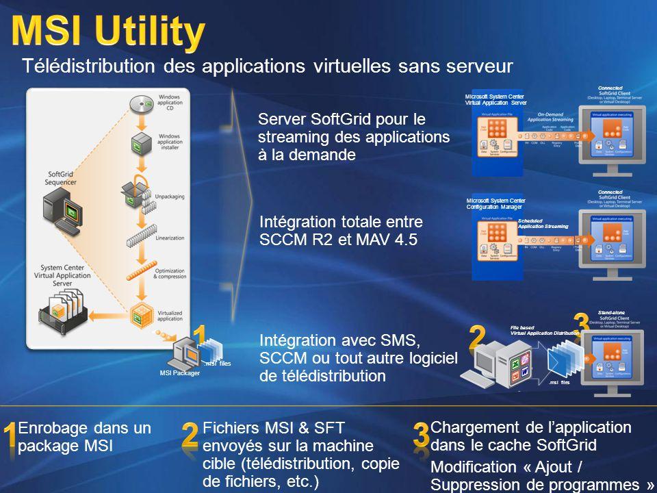 Enrobage dans un package MSI Intégration totale entre SCCM R2 et MAV 4.5 Server SoftGrid pour le streaming des applications à la demande Télédistribut