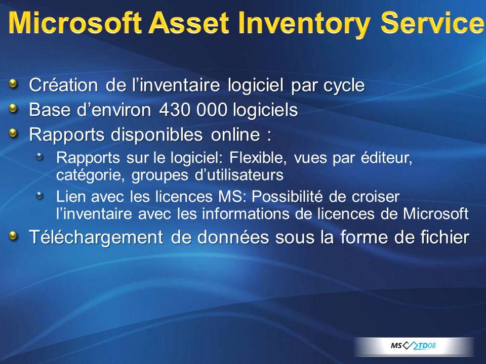 Création de l'inventaire logiciel par cycle Base d'environ 430 000 logiciels Rapports disponibles online : Rapports sur le logiciel: Flexible, vues pa