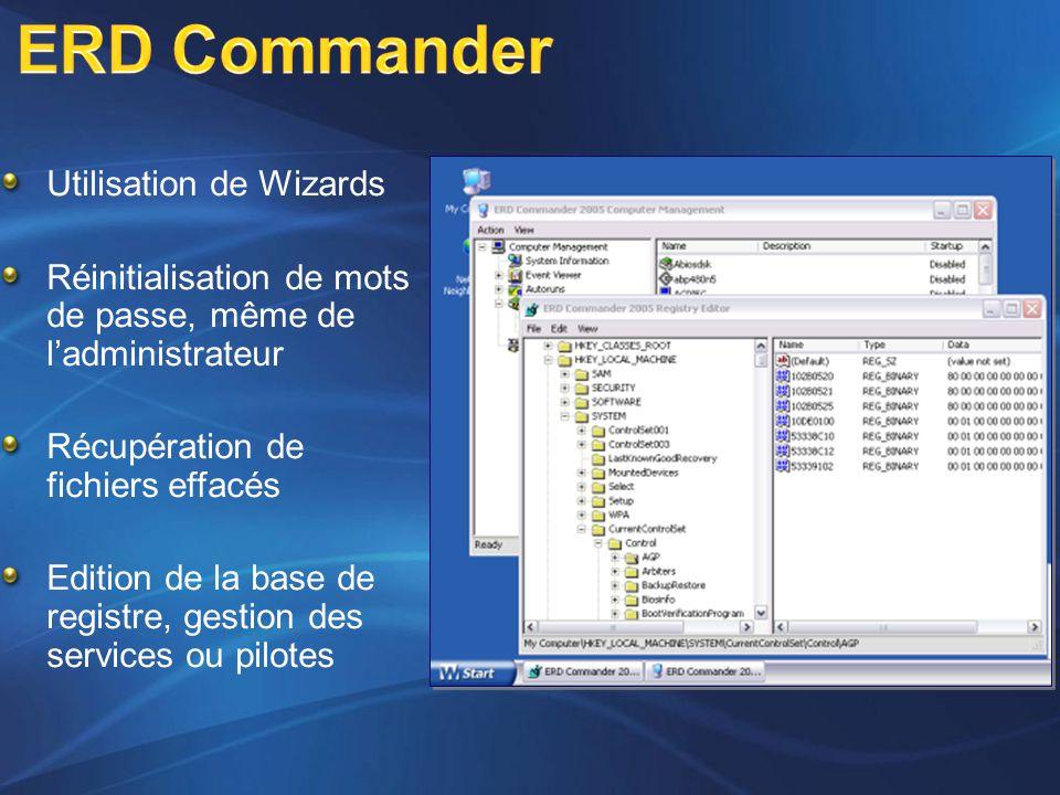 Utilisation de Wizards Réinitialisation de mots de passe, même de l'administrateur Récupération de fichiers effacés Edition de la base de registre, ge