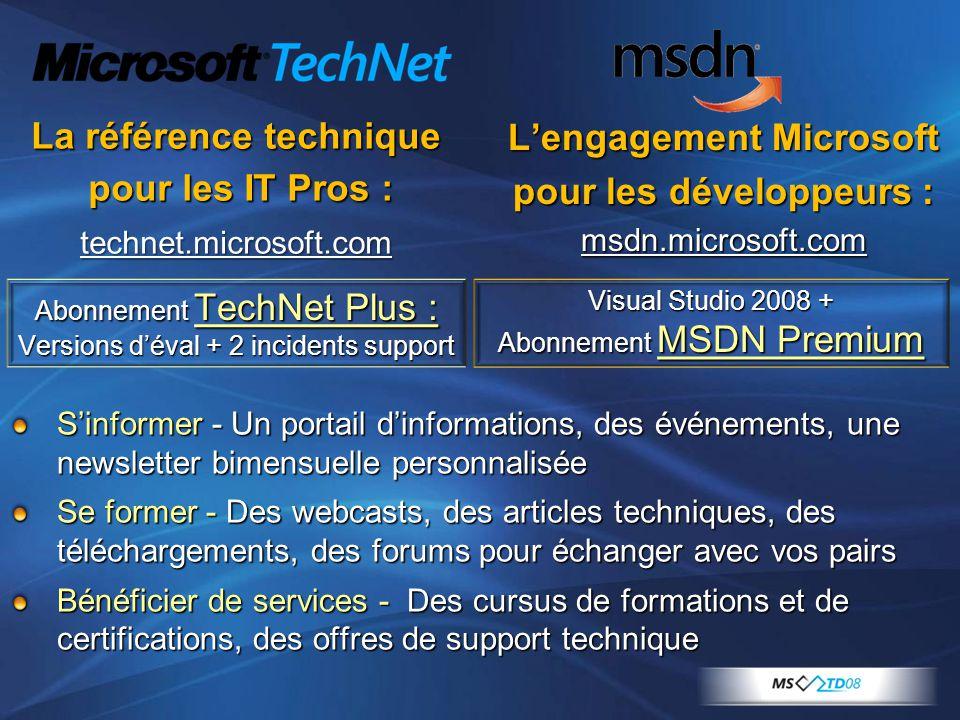 La référence technique pour les IT Pros : pour les IT Pros :technet.microsoft.com L'engagement Microsoft pour les développeurs : msdn.microsoft.com S'