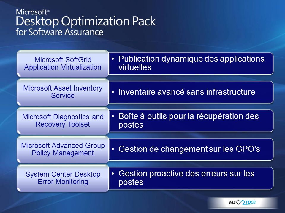 •Publication dynamique des applications virtuelles Microsoft SoftGrid Application Virtualization •Inventaire avancé sans infrastructure Microsoft Asse