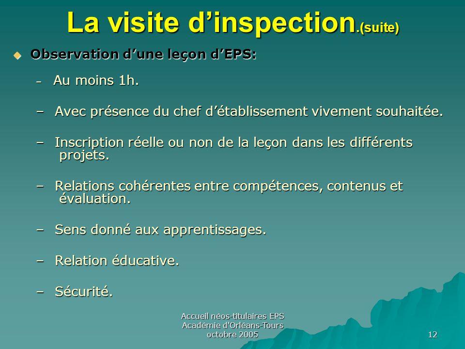 Accueil néos-titulaires EPS Académie d Orléans-Tours octobre 2005 12 La visite d'inspection.(suite)  Observation d'une leçon d'EPS: – Au moins 1h.