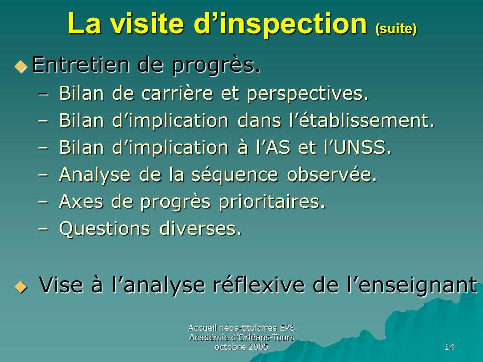 Accueil néos-titulaires EPS Académie d Orléans-Tours octobre 2005 14 La visite d'inspection (suite)  Entretien de progrès.