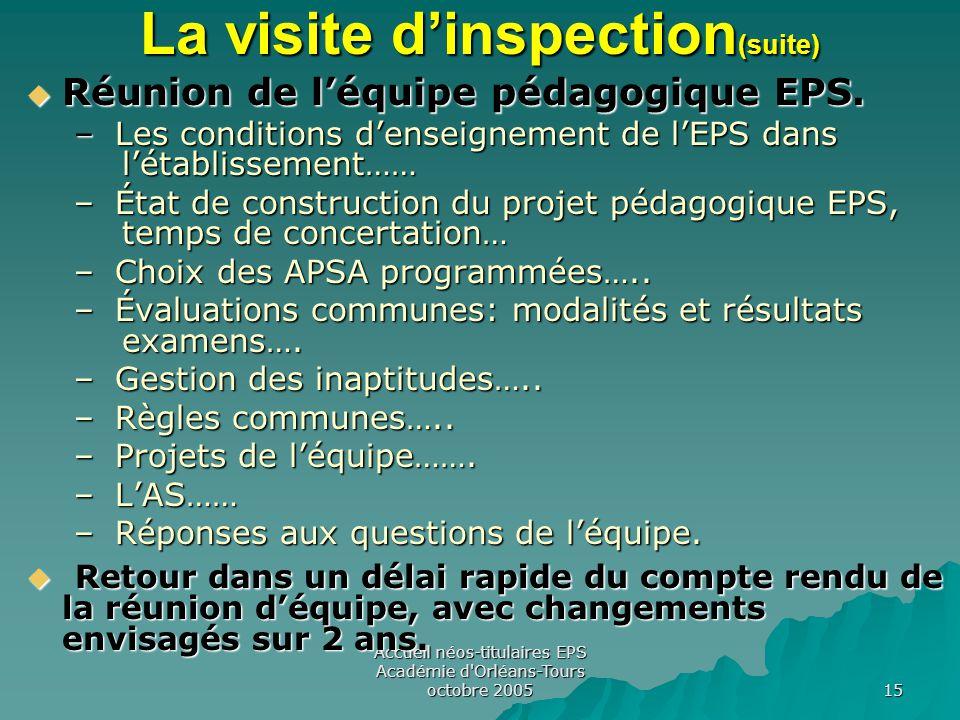 Accueil néos-titulaires EPS Académie d Orléans-Tours octobre 2005 15 La visite d'inspection (suite)  Réunion de l'équipe pédagogique EPS.