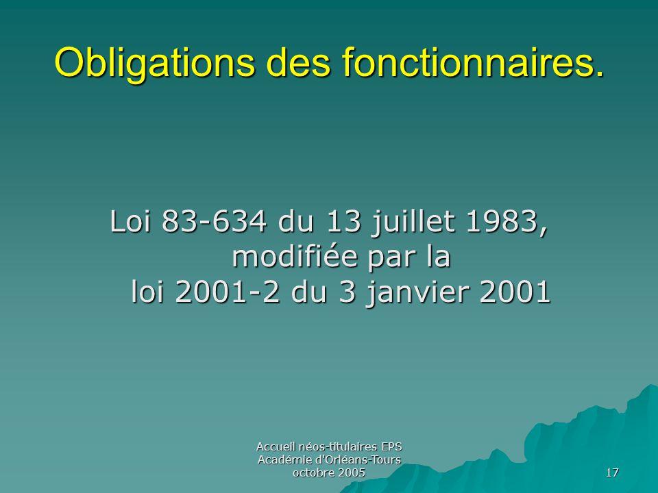 Accueil néos-titulaires EPS Académie d Orléans-Tours octobre 2005 17 Obligations des fonctionnaires.
