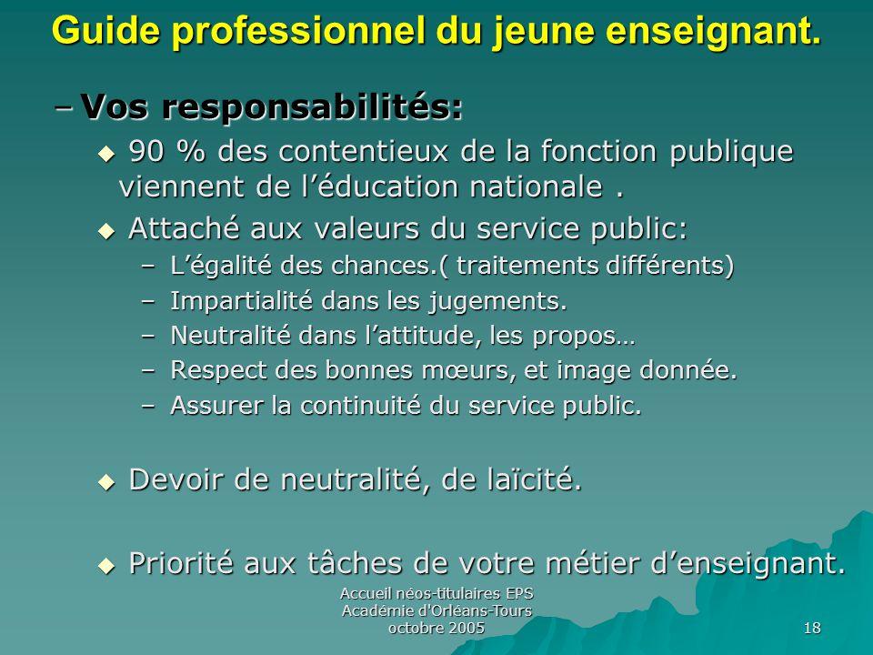 Accueil néos-titulaires EPS Académie d Orléans-Tours octobre 2005 18 Guide professionnel du jeune enseignant.