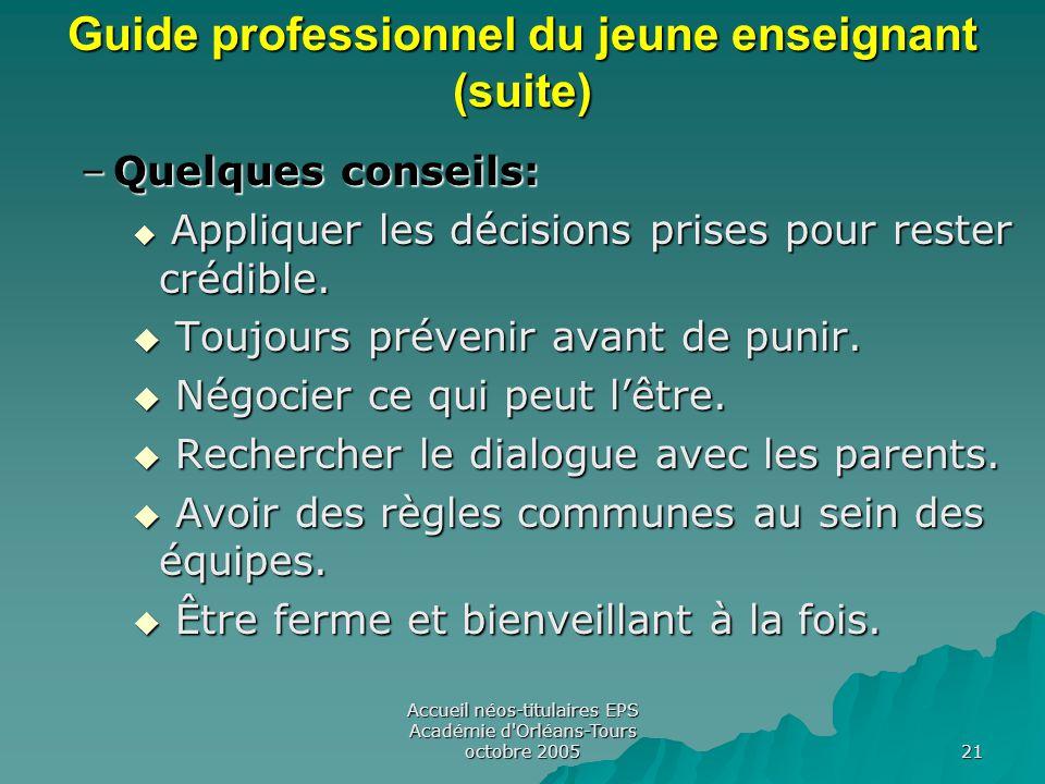 Accueil néos-titulaires EPS Académie d Orléans-Tours octobre 2005 21 Guide professionnel du jeune enseignant (suite) –Quelques conseils:  Appliquer les décisions prises pour rester crédible.