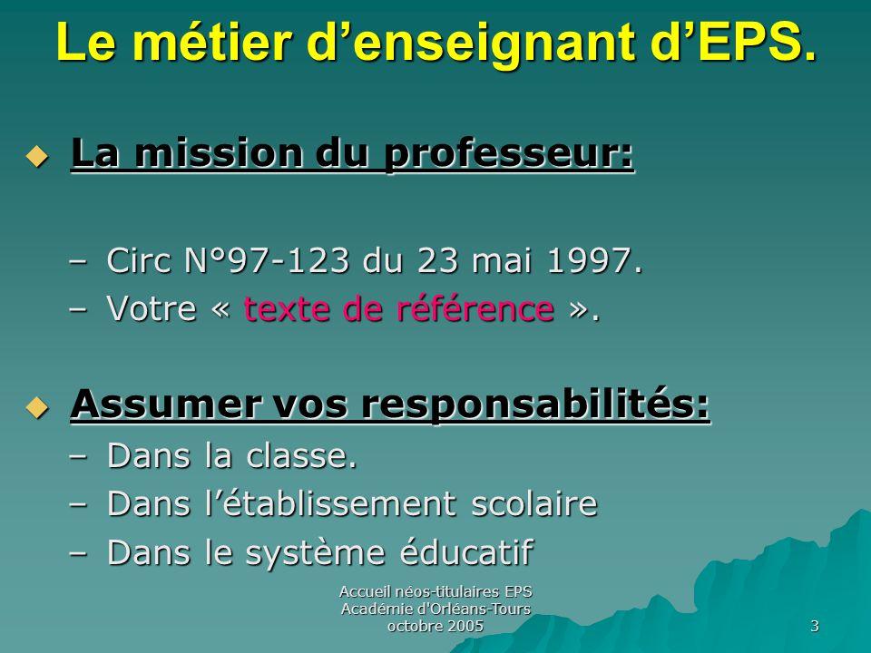 Accueil néos-titulaires EPS Académie d Orléans-Tours octobre 2005 3 Le métier d'enseignant d'EPS.