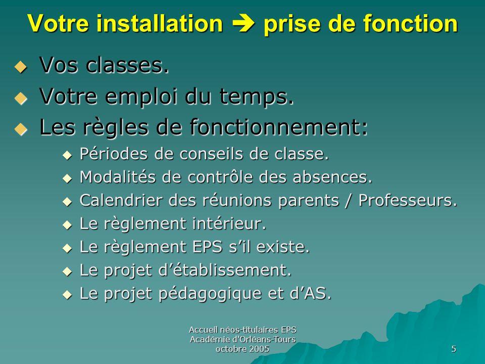 Accueil néos-titulaires EPS Académie d Orléans-Tours octobre 2005 5 Votre installation  prise de fonction  Vos classes.
