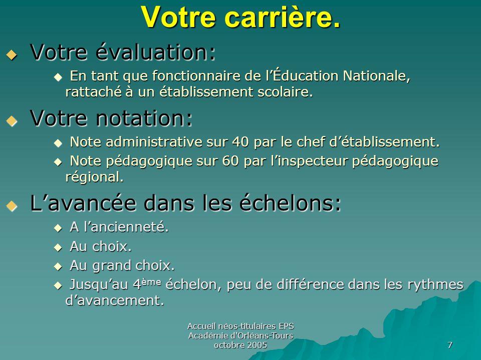 Accueil néos-titulaires EPS Académie d Orléans-Tours octobre 2005 7 Votre carrière.