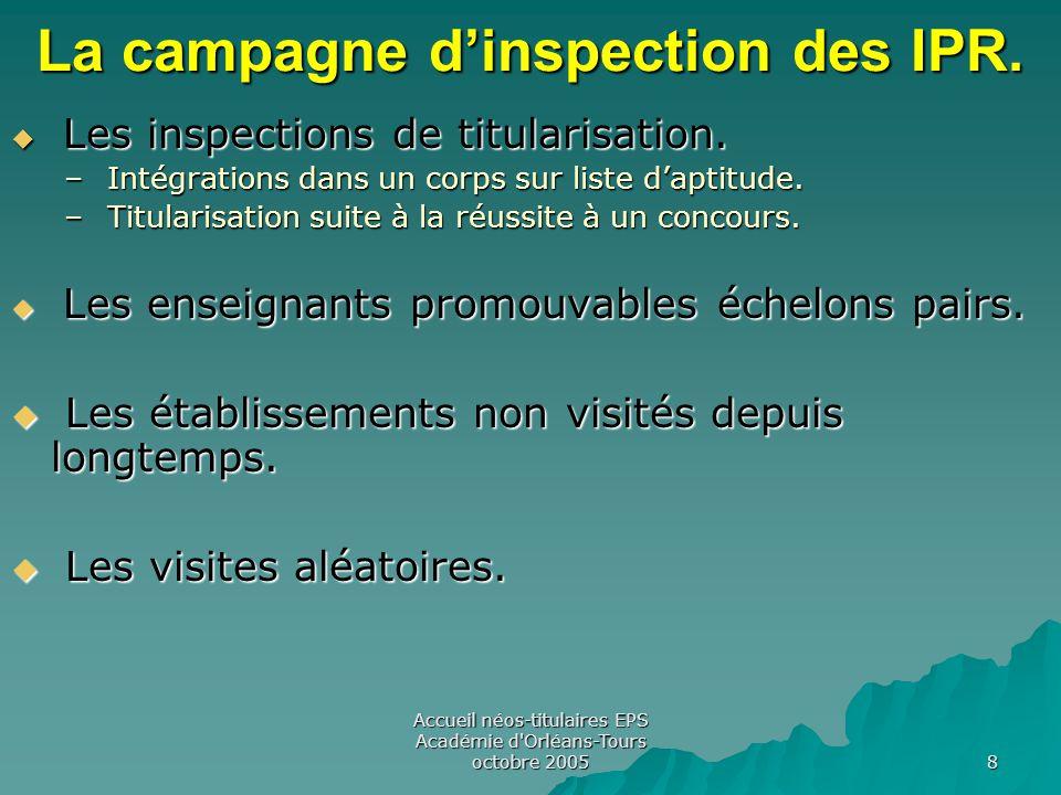 Accueil néos-titulaires EPS Académie d Orléans-Tours octobre 2005 8 La campagne d'inspection des IPR.