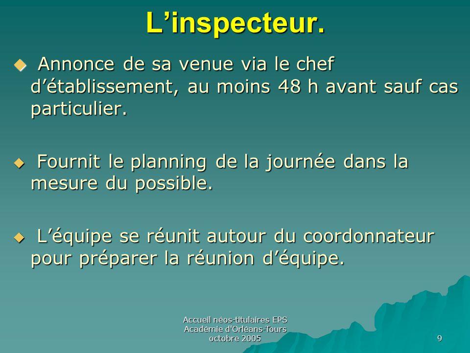 Accueil néos-titulaires EPS Académie d Orléans-Tours octobre 2005 9L'inspecteur.