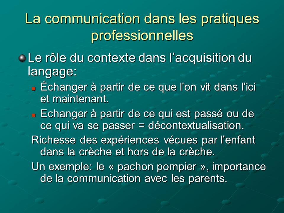 La communication dans les pratiques professionnelles Le rôle du contexte dans l'acquisition du langage:  Échanger à partir de ce que l'on vit dans l'ici et maintenant.