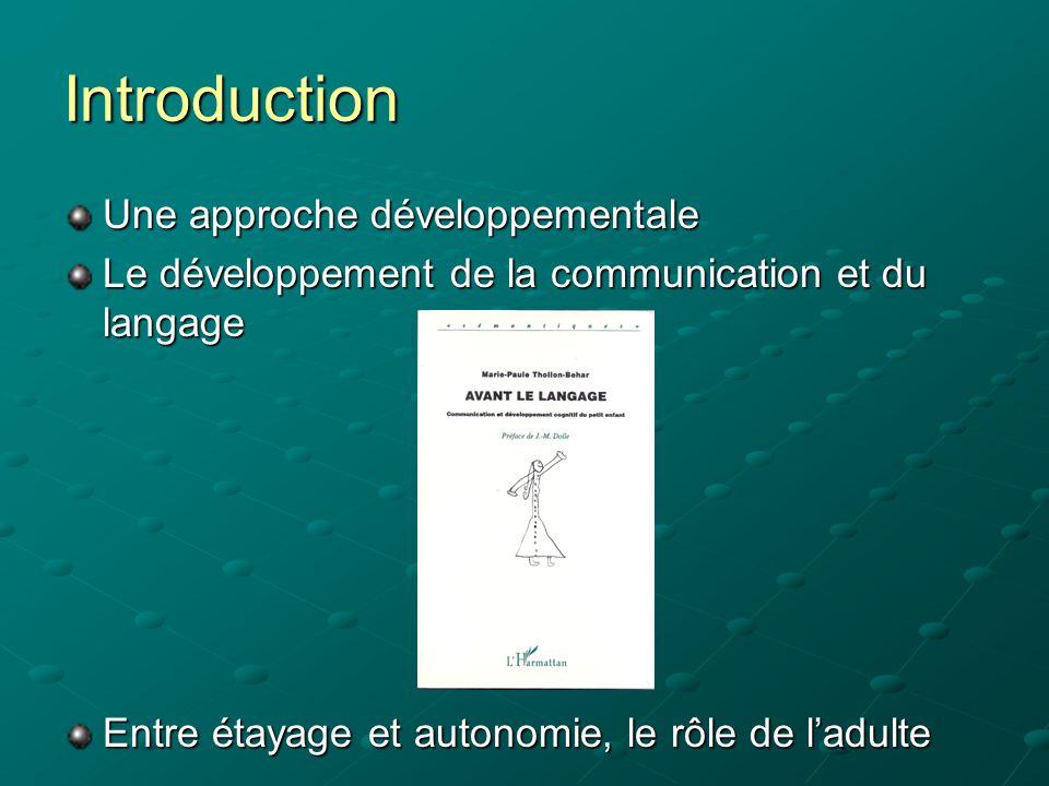 Introduction Une approche développementale Le développement de la communication et du langage Entre étayage et autonomie, le rôle de l'adulte
