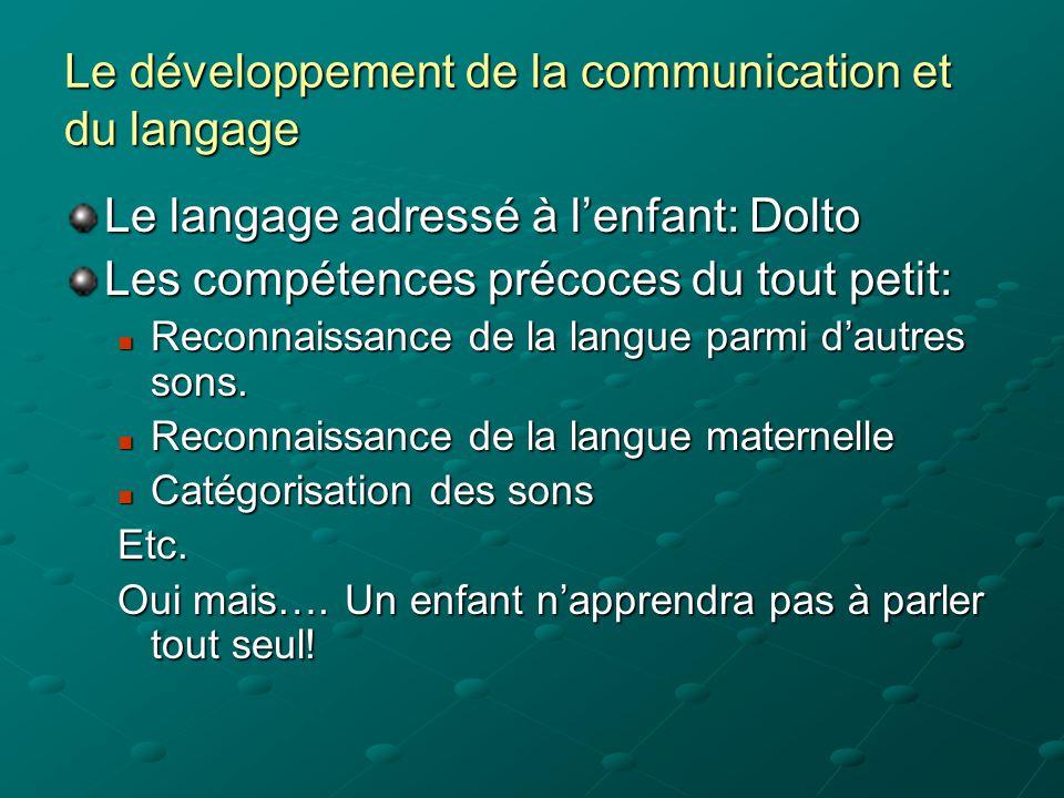 Le développement de la communication et du langage Le langage adressé à l'enfant: Dolto Les compétences précoces du tout petit:  Reconnaissance de la langue parmi d'autres sons.