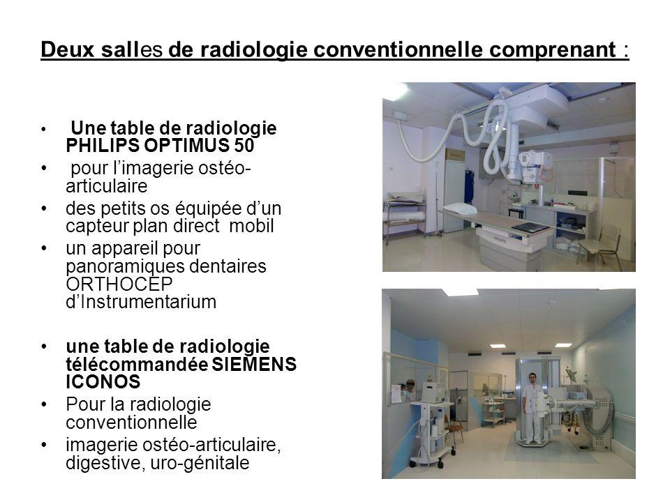 Deux salles de radiologie conventionnelle comprenant : • Une table de radiologie PHILIPS OPTIMUS 50 • pour l'imagerie ostéo- articulaire •des petits os équipée d'un capteur plan direct mobil •un appareil pour panoramiques dentaires ORTHOCEP d'Instrumentarium •une table de radiologie télécommandée SIEMENS ICONOS •Pour la radiologie conventionnelle •imagerie ostéo-articulaire, digestive, uro-génitale