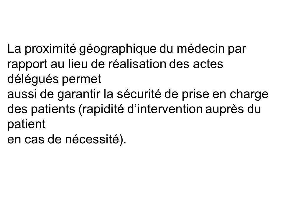 La proximité géographique du médecin par rapport au lieu de réalisation des actes délégués permet aussi de garantir la sécurité de prise en charge des patients (rapidité d'intervention auprès du patient en cas de nécessité).
