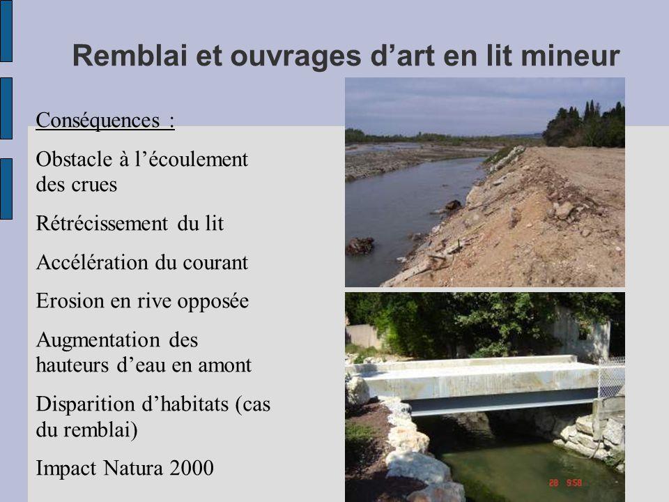Remblai et ouvrages d'art en lit mineur Conséquences : Obstacle à l'écoulement des crues Rétrécissement du lit Accélération du courant Erosion en rive opposée Augmentation des hauteurs d'eau en amont Disparition d'habitats (cas du remblai) Impact Natura 2000