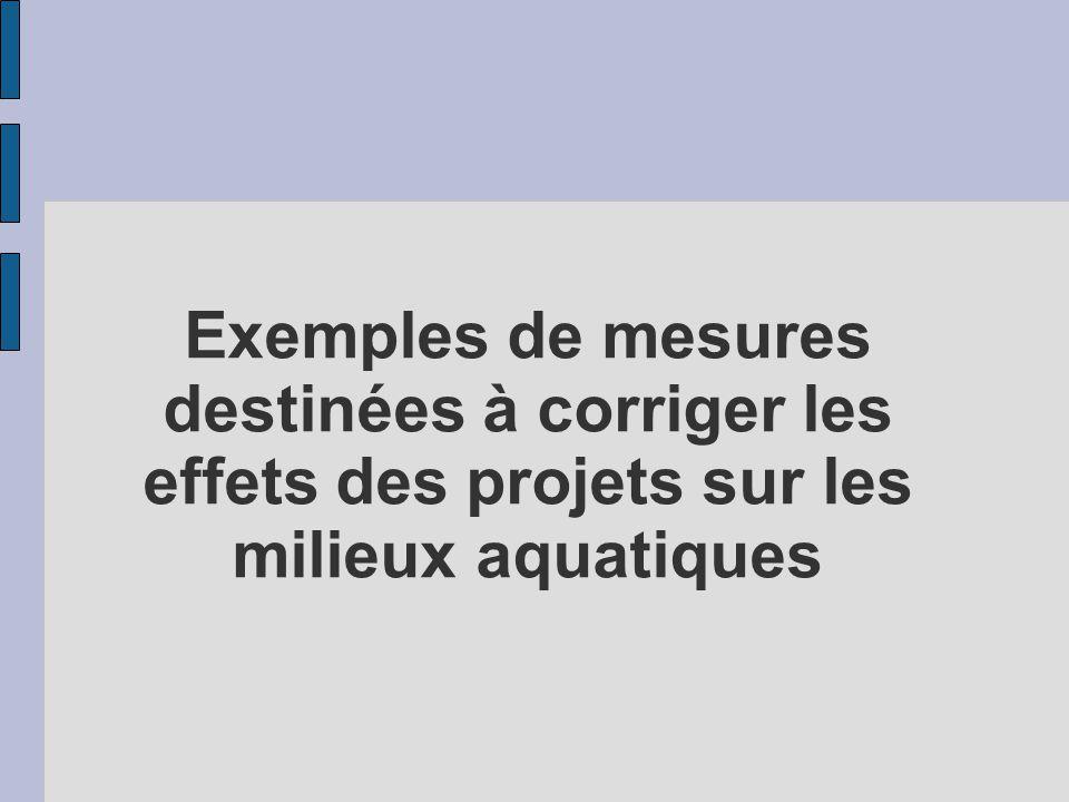 Exemples de mesures destinées à corriger les effets des projets sur les milieux aquatiques