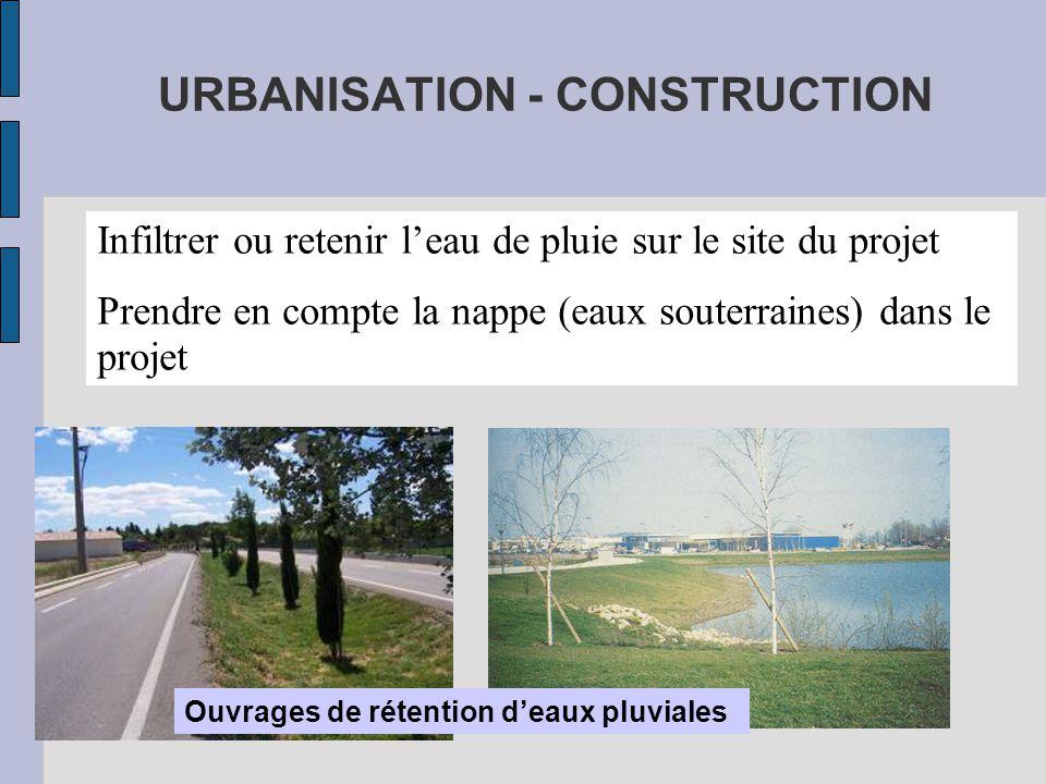 URBANISATION - CONSTRUCTION Infiltrer ou retenir l'eau de pluie sur le site du projet Prendre en compte la nappe (eaux souterraines) dans le projet Ouvrages de rétention d'eaux pluviales