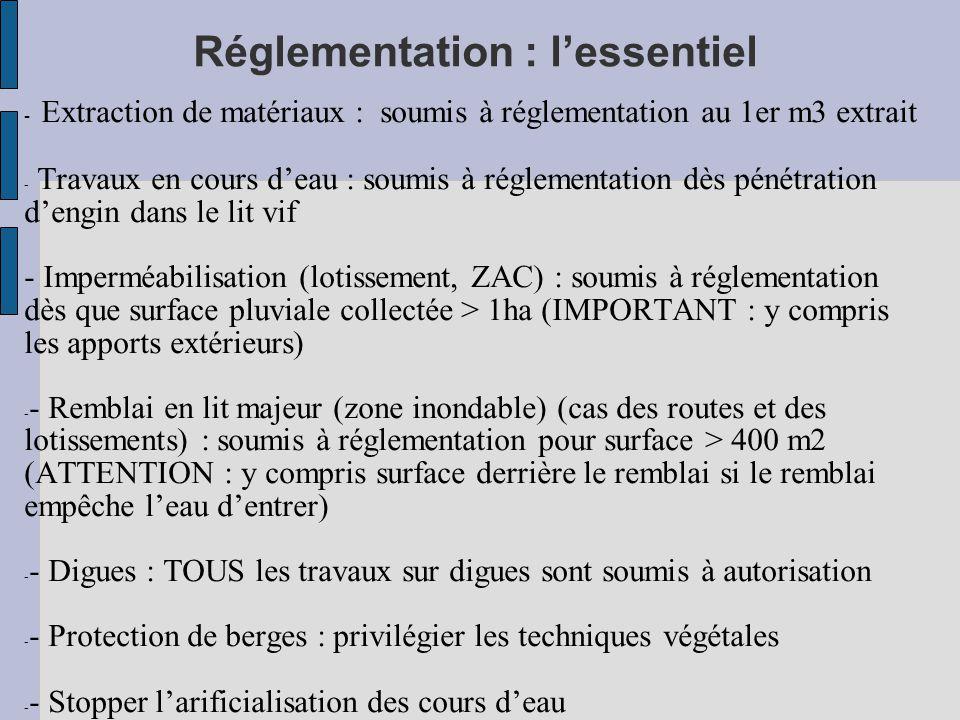Réglementation : l'essentiel - Extraction de matériaux : soumis à réglementation au 1er m3 extrait - Travaux en cours d'eau : soumis à réglementation dès pénétration d'engin dans le lit vif - Imperméabilisation (lotissement, ZAC) : soumis à réglementation dès que surface pluviale collectée > 1ha (IMPORTANT : y compris les apports extérieurs) - - Remblai en lit majeur (zone inondable) (cas des routes et des lotissements) : soumis à réglementation pour surface > 400 m2 (ATTENTION : y compris surface derrière le remblai si le remblai empêche l'eau d'entrer) - - Digues : TOUS les travaux sur digues sont soumis à autorisation - - Protection de berges : privilégier les techniques végétales - - Stopper l'arificialisation des cours d'eau