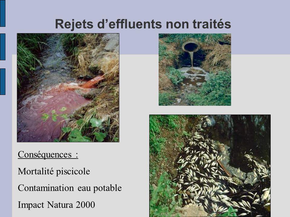 Conséquences : Mortalité piscicole Contamination eau potable Impact Natura 2000 Rejets d'effluents non traités