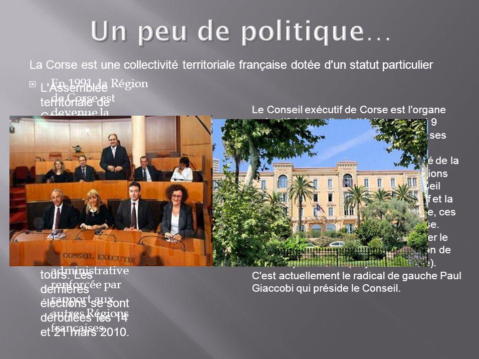 Un peu de politique… EEn 1991, la Région de Corse est devenue la Collectivité territoriale de Corse (CTC) et est dotée depuis cette date d un statut politique particulier qui lui donne une autonomie politique et administrative renforcée par rapport aux autres Régions françaises.