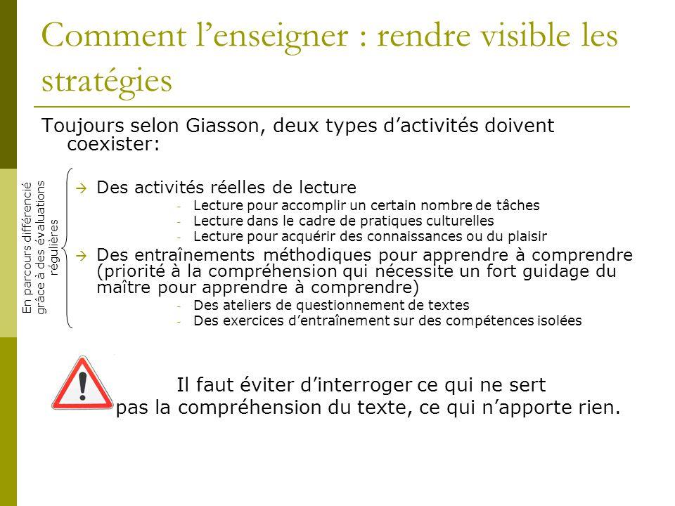 Comment l'enseigner : rendre visible les stratégies Toujours selon Giasson, deux types d'activités doivent coexister:  Des activités réelles de lectu