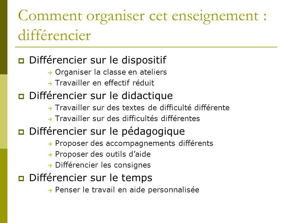Comment organiser cet enseignement : différencier  Différencier sur le dispositif  Organiser la classe en ateliers  Travailler en effectif réduit 