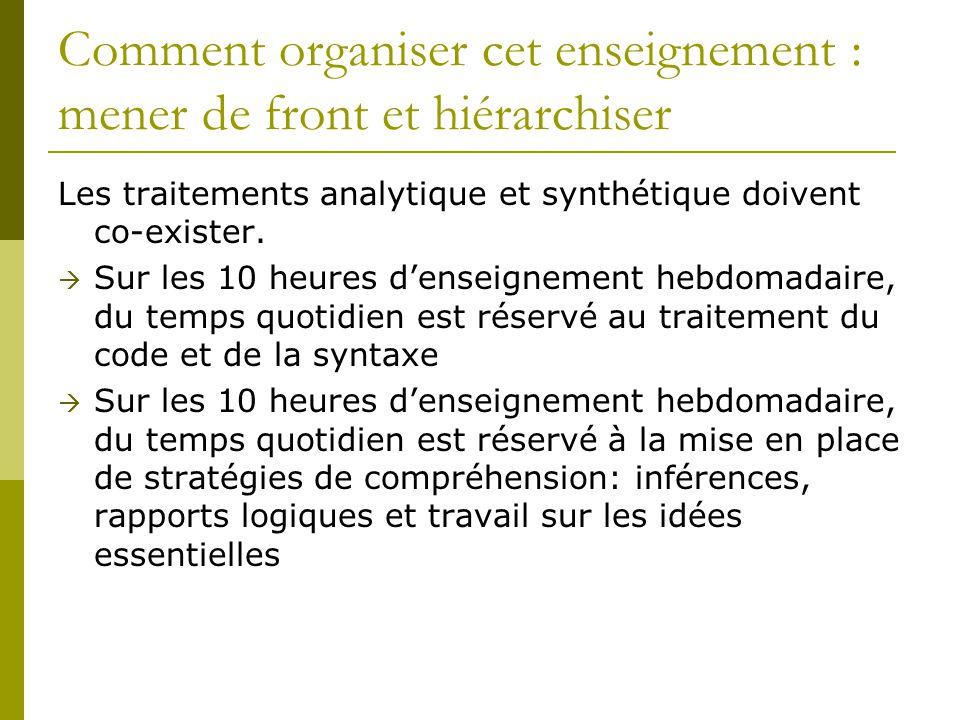 Comment organiser cet enseignement : mener de front et hiérarchiser Les traitements analytique et synthétique doivent co-exister.