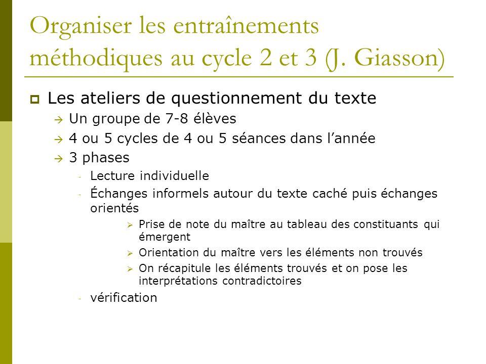 Organiser les entraînements méthodiques au cycle 2 et 3 (J. Giasson)  Les ateliers de questionnement du texte  Un groupe de 7-8 élèves  4 ou 5 cycl