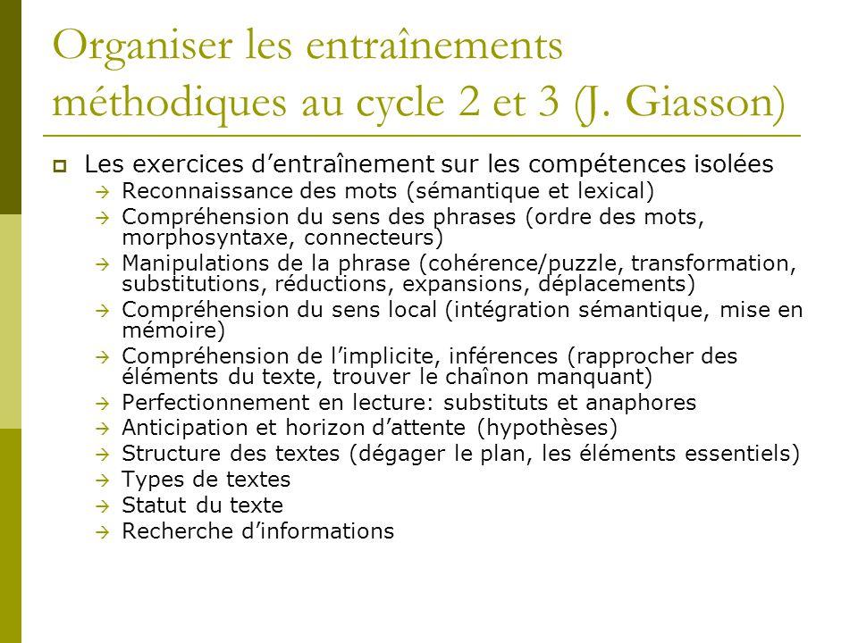 Organiser les entraînements méthodiques au cycle 2 et 3 (J. Giasson)  Les exercices d'entraînement sur les compétences isolées  Reconnaissance des m