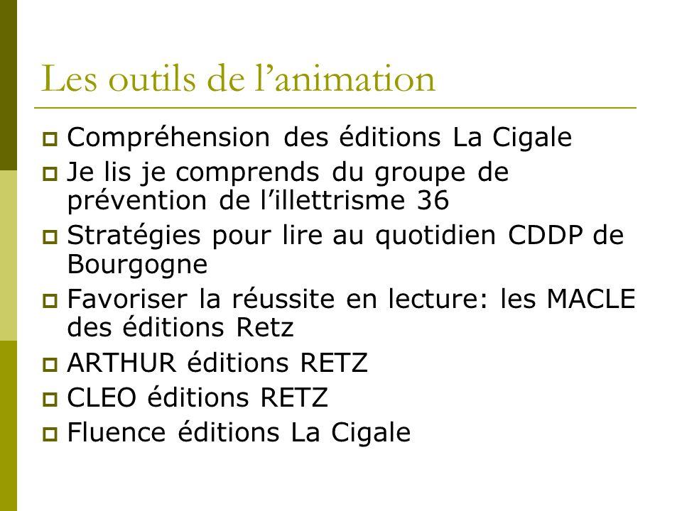 Les outils de l'animation  Compréhension des éditions La Cigale  Je lis je comprends du groupe de prévention de l'illettrisme 36  Stratégies pour l