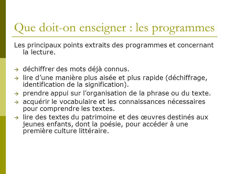 Que doit-on enseigner : les programmes Les principaux points extraits des programmes et concernant la lecture.  déchiffrer des mots déjà connus.  li