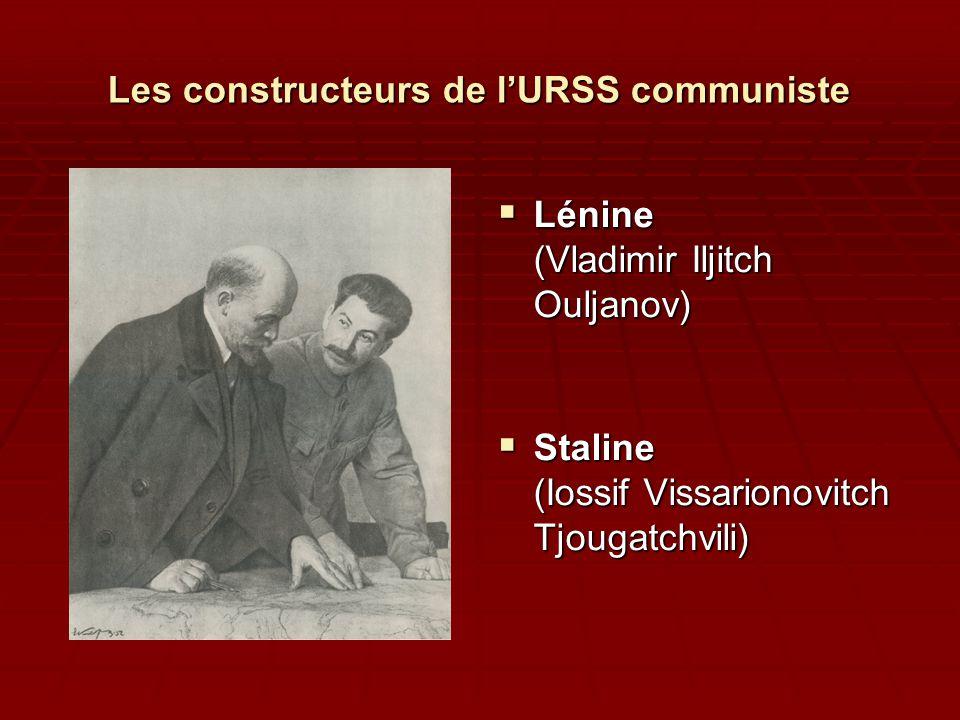 Les constructeurs de l'URSS communiste  Lénine (Vladimir Iljitch Ouljanov)  Staline (Iossif Vissarionovitch Tjougatchvili)