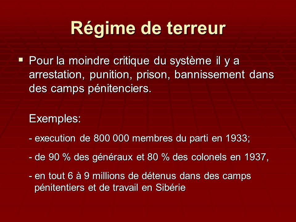 Régime de terreur  Pour la moindre critique du système il y a arrestation, punition, prison, bannissement dans des camps pénitenciers. Exemples: - ex