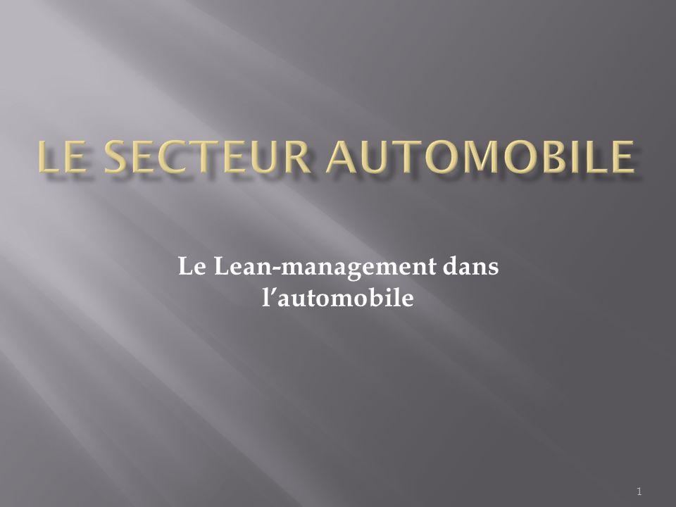 1 Le Lean-management dans l'automobile