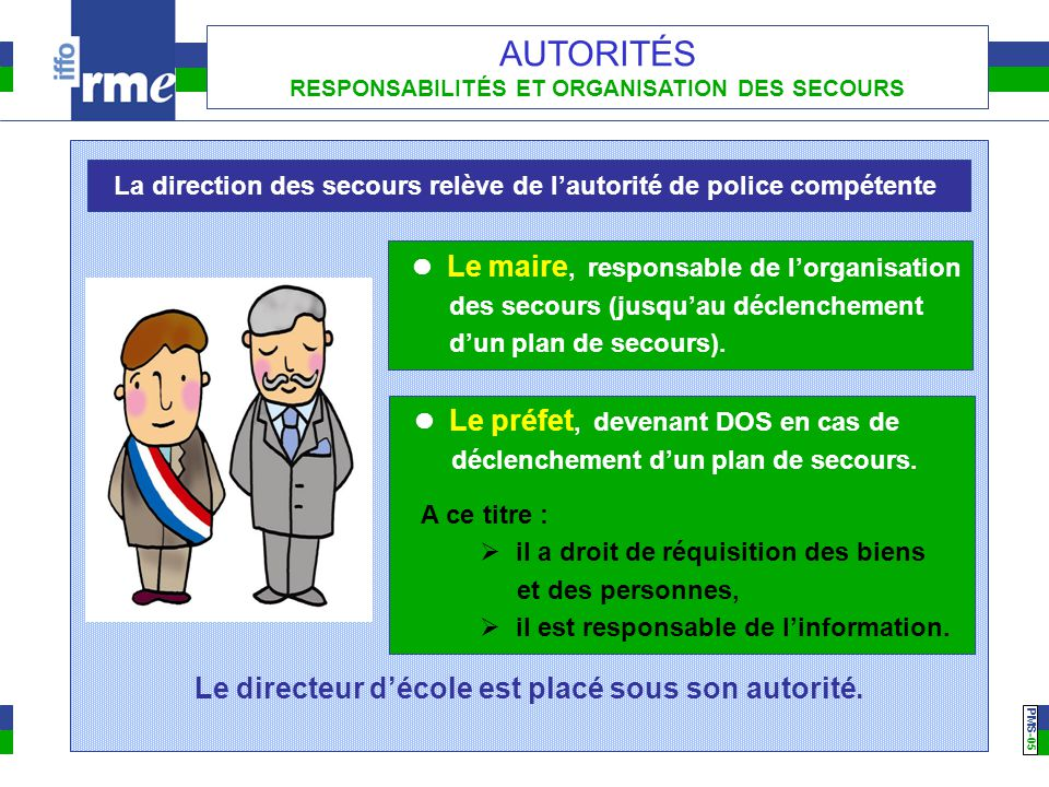 PMS -05 AUTORITÉS RESPONSABILITÉS ET ORGANISATION DES SECOURS  Le préfet, devenant DOS en cas de déclenchement d'un plan de secours. A ce titre :  i