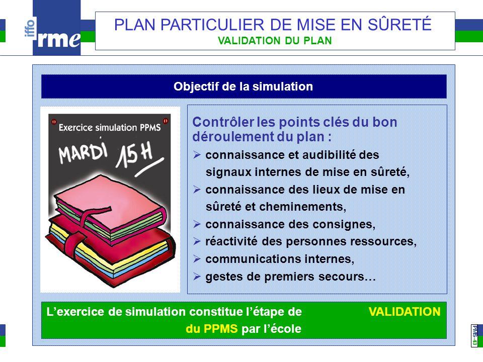 PMS -43 PLAN PARTICULIER DE MISE EN SÛRETÉ VALIDATION DU PLAN Objectif de la simulation Contrôler les points clés du bon déroulement du plan :  conna