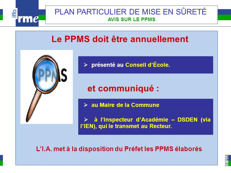 PMS -44 PLAN PARTICULIER DE MISE EN SÛRETÉ AVIS SUR LE PPMS Le PPMS doit être annuellement  présenté au Conseil d'École. et communiqué :  au Maire d