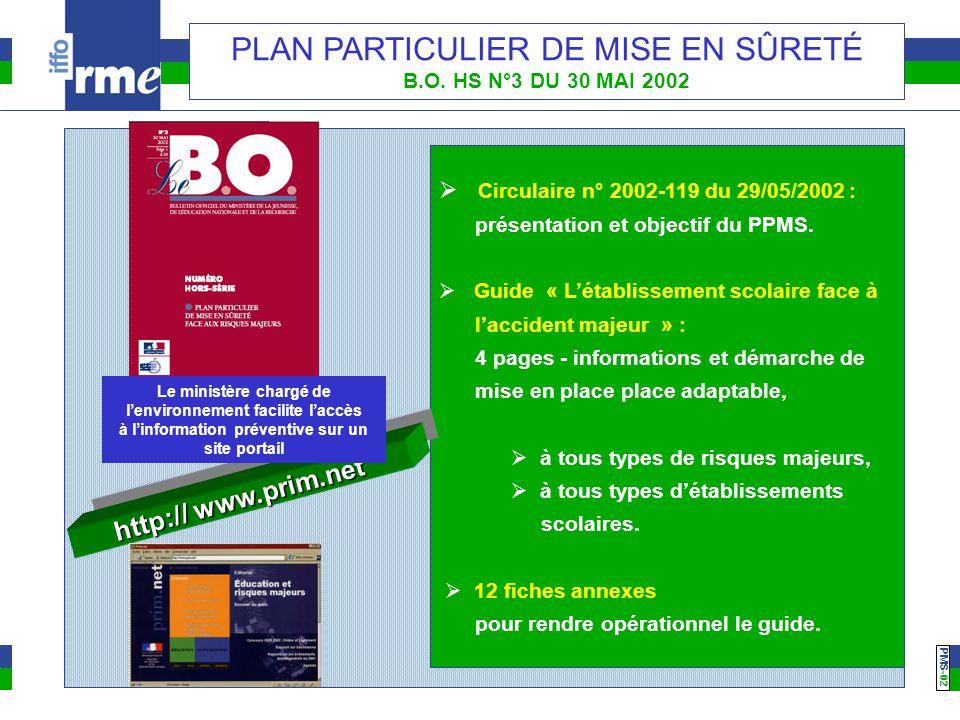 PMS -02 PLAN PARTICULIER DE MISE EN SÛRETÉ B.O. HS N°3 DU 30 MAI 2002  Circulaire n° 2002-119 du 29/05/2002 : présentation et objectif du PPMS.  Gui