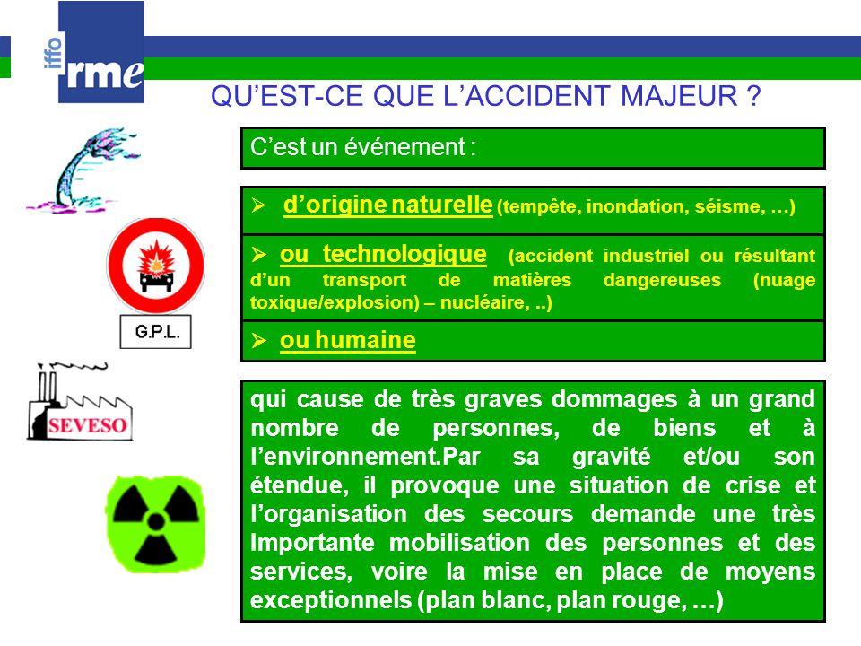 QU'EST-CE QUE L'ACCIDENT MAJEUR ?  d'origine naturelle (tempête, inondation, séisme, …)  ou humaine  ou technologique (accident industriel ou résul