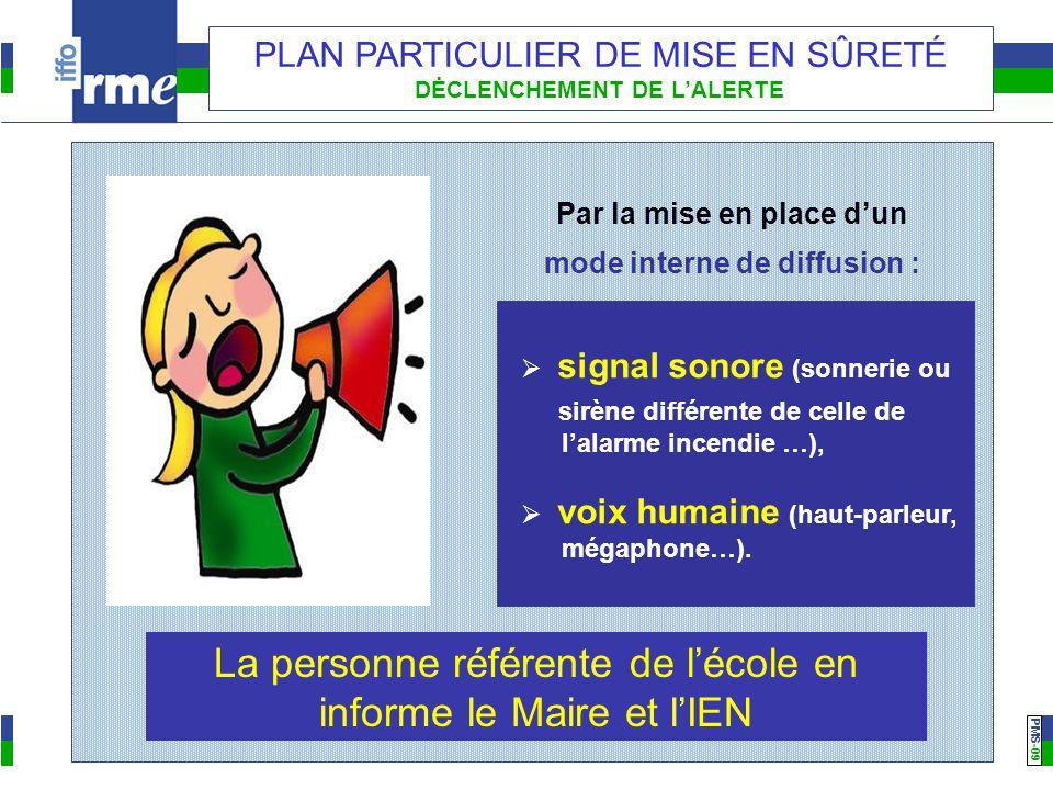 PMS -09 PLAN PARTICULIER DE MISE EN SÛRETÉ DĖCLENCHEMENT DE L'ALERTE Par la mise en place d'un mode interne de diffusion :  signal sonore (sonnerie o
