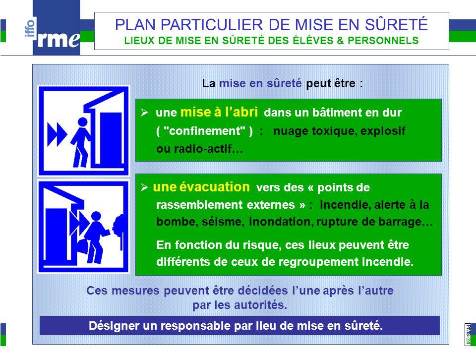 PMS -24 PLAN PARTICULIER DE MISE EN SÛRETÉ LIEUX DE MISE EN SÛRETÉ DES ÉLÈVES & PERSONNELS La mise en sûreté peut être :  une mise à l'abri dans un bâtiment en dur ( confinement ) : nuage toxique, explosif ou radio-actif…  une évacuation vers des « points de rassemblement externes » : incendie, alerte à la bombe, séisme, inondation, rupture de barrage… En fonction du risque, ces lieux peuvent être différents de ceux de regroupement incendie.