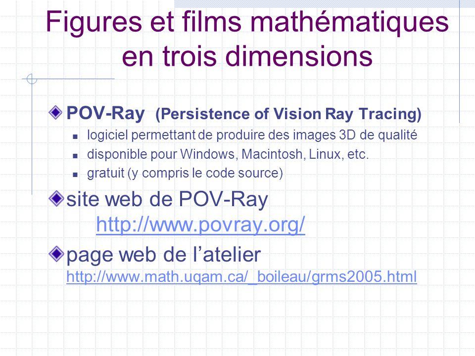 Figures et films mathématiques en trois dimensions POV-Ray (Persistence of Vision Ray Tracing)  logiciel permettant de produire des images 3D de qualité  disponible pour Windows, Macintosh, Linux, etc.