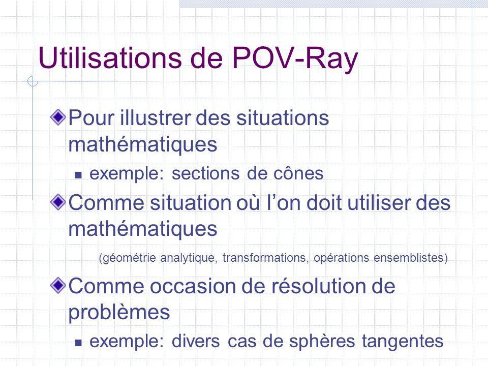 Utilisations de POV-Ray Pour illustrer des situations mathématiques  exemple: sections de cônes Comme situation où l'on doit utiliser des mathématiques (géométrie analytique, transformations, opérations ensemblistes) Comme occasion de résolution de problèmes  exemple: divers cas de sphères tangentes